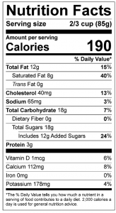 Nutrition label vanilla ice cream